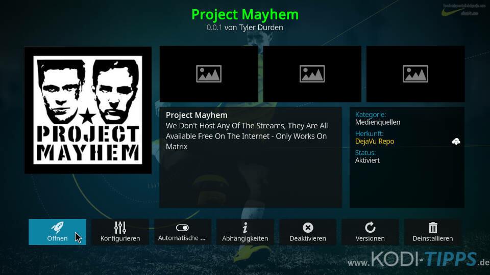Project Mayhem Kodi Addon installieren - Schritt 11