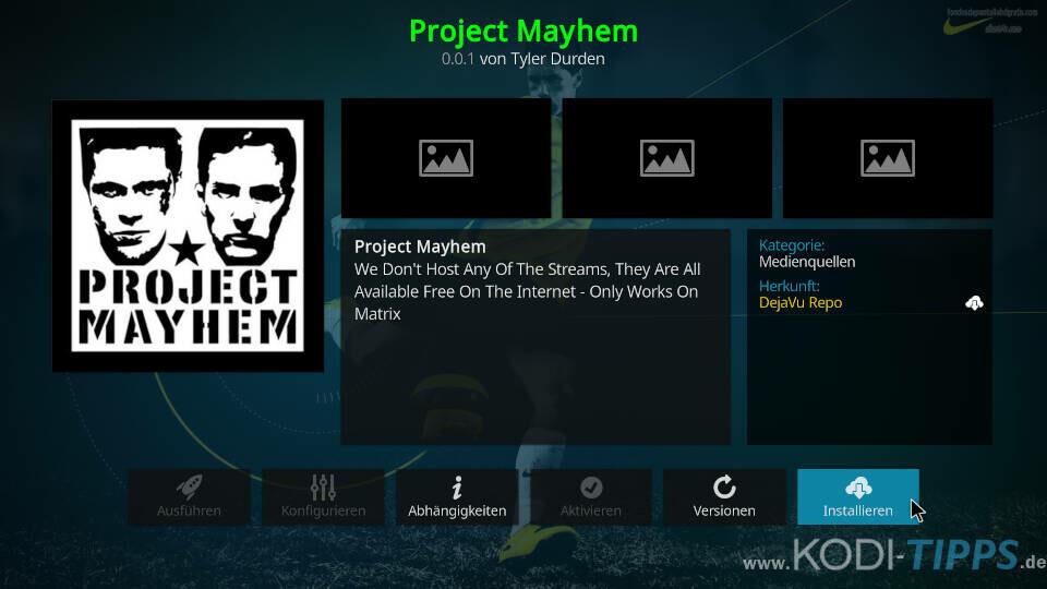Project Mayhem Kodi Addon installieren - Schritt 8