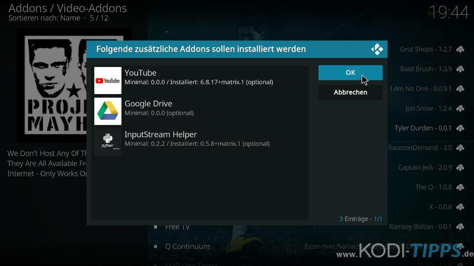 Project Mayhem Kodi Addon installieren - Schritt 9
