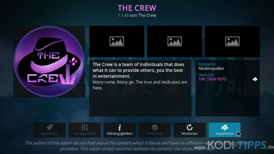 The Crew Kodi Addon installieren - Schritt 8