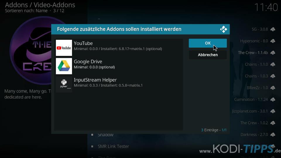 The Crew Kodi Addon installieren - Schritt 9