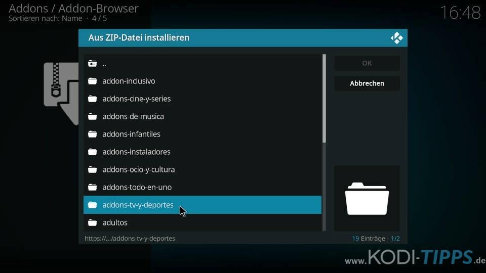 Winner Kodi Addon installieren - Schritt 2