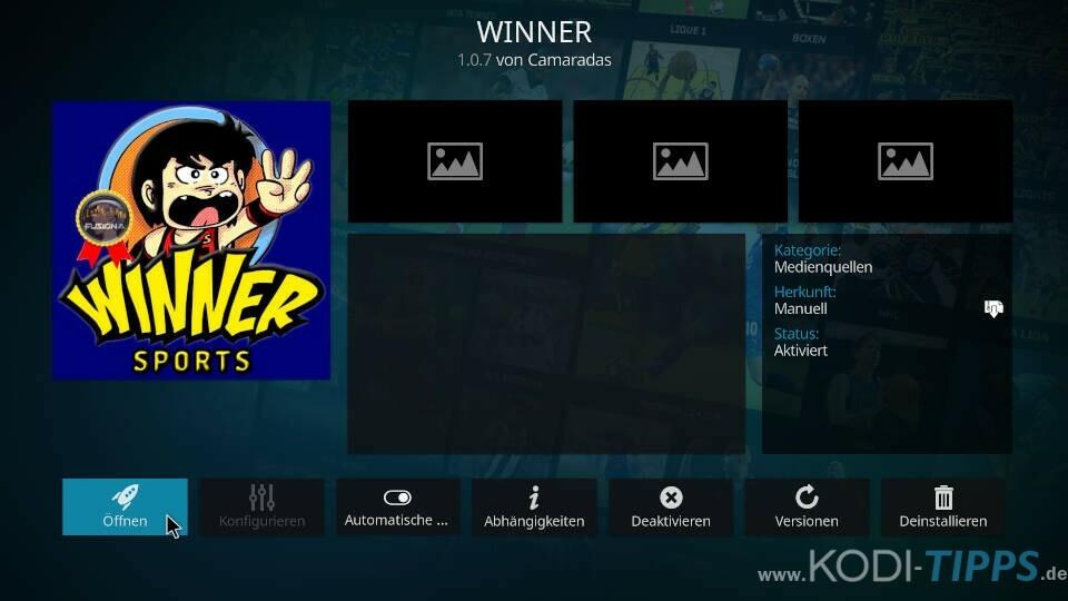 Winner Kodi Addon installieren - Schritt 8